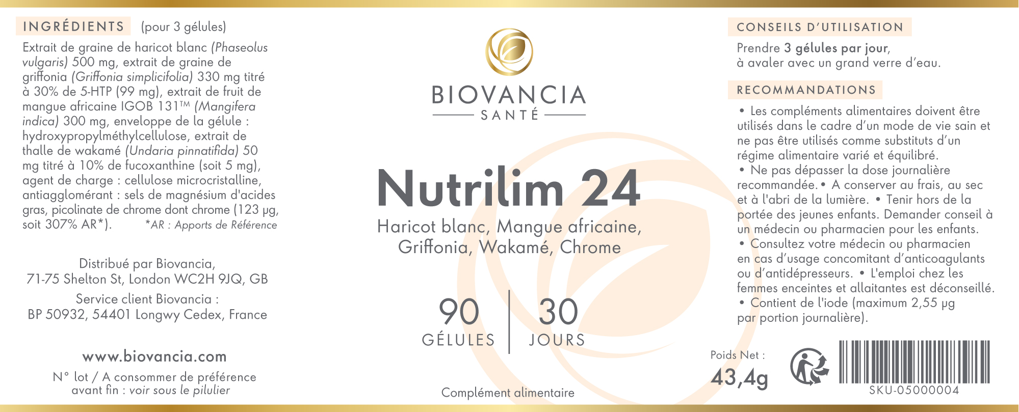 Etiquette composition de Nutrilim 24
